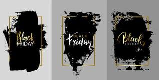 Annerisca venerdì Vector la pittura nera, inchiostri il colpo della spazzola, la spazzola, la linea o la struttura Strutturi l'el illustrazione di stock