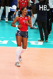 Annerys vargas. The volleyball player annerys vargas in the world cup volley match dominican republic vs belgium played at bari in italy.1/10/2015 stock image