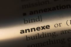 Annexe. Word in a dictionary.  concept Stock Photo