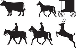 Annexe aux animaux de poteaux de signalisation Image libre de droits