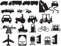 Annexe aux poteaux de signalisation - véhicules et mécanismes Image libre de droits