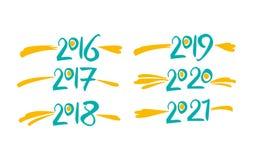 Anni 2016 2017 2018 2019 2020 2021 illustrazione vettoriale