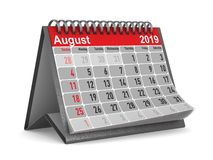 2019 anni Calendario per l'illustrazione di August Isolated 3D Illustrazione Vettoriale
