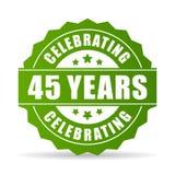 45 anni che celebrano l'icona verde di vettore Immagini Stock Libere da Diritti