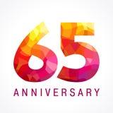 65 anni che celebrano logo ardente Fotografie Stock Libere da Diritti
