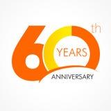 60 anni che celebrano logo classico illustrazione di stock