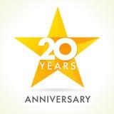 20 anni che celebrano logo della stella Fotografie Stock Libere da Diritti