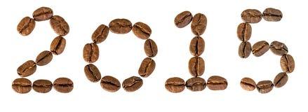 2015 anni dai chicchi di caffè Fotografia Stock Libera da Diritti