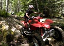 Anni dell'adolescenza che guidano ATVs nella foresta Fotografia Stock Libera da Diritti