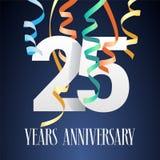 25 anni di anniversario di celebrazione di icona di vettore, logo illustrazione di stock