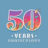 50 anni di anniversario di celebrazione di icona di vettore, logo Immagine Stock