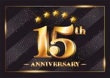 15 anni di anniversario di celebrazione di logo di vettore quindicesimo anniversario Fotografie Stock Libere da Diritti