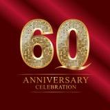 60 anni di anniversario del logotype di stile della discoteca royalty illustrazione gratis