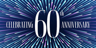 60 anni di anniversario di icona di vettore, insegna illustrazione di stock