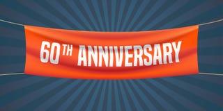 60 anni di anniversario di illustrazione di vettore, insegna, aletta di filatoio, logo illustrazione di stock