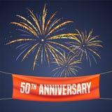 50 anni di anniversario di illustrazione di vettore, insegna, aletta di filatoio, logo Immagini Stock Libere da Diritti