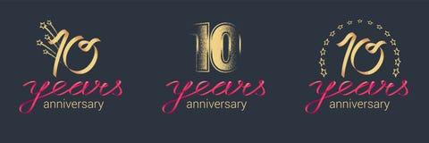 10 anni di anniversario di icona di vettore, insieme di logo Fotografia Stock