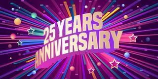 25 anni di anniversario di icona di vettore, logo illustrazione di stock