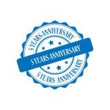 5 anni di anniversario di illustrazione del bollo Immagine Stock