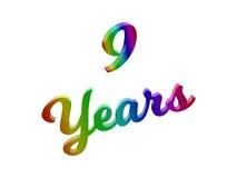 9 anni di anniversario, la festa 3D calligrafico hanno reso l'illustrazione del testo colorata con la pendenza dell'arcobaleno di illustrazione vettoriale