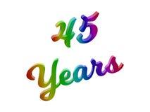 45 anni di anniversario, la festa 3D calligrafico hanno reso l'illustrazione del testo colorata con la pendenza dell'arcobaleno d Fotografie Stock Libere da Diritti