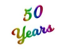 50 anni di anniversario, la festa 3D calligrafico hanno reso l'illustrazione del testo colorata con la pendenza dell'arcobaleno d Immagini Stock Libere da Diritti
