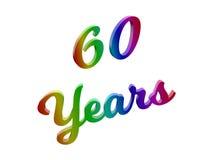 60 anni di anniversario, la festa 3D calligrafico hanno reso l'illustrazione del testo colorata con la pendenza dell'arcobaleno d fotografia stock