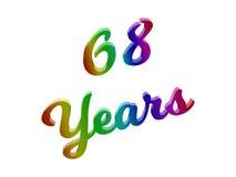 68 anni di anniversario, la festa 3D calligrafico hanno reso l'illustrazione del testo colorata con la pendenza dell'arcobaleno d Immagini Stock Libere da Diritti