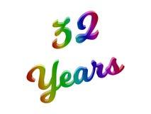 32 anni di anniversario, la festa 3D calligrafico hanno reso l'illustrazione del testo colorata con la pendenza dell'arcobaleno d Immagine Stock Libera da Diritti