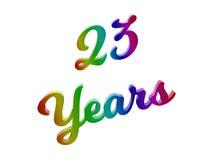 23 anni di anniversario, la festa 3D calligrafico hanno reso l'illustrazione del testo colorata con la pendenza dell'arcobaleno d Immagini Stock