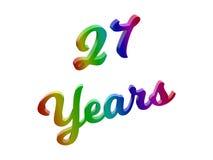 27 anni di anniversario, la festa 3D calligrafico hanno reso l'illustrazione del testo colorata con la pendenza dell'arcobaleno d Fotografia Stock Libera da Diritti