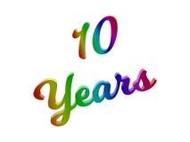 10 anni di anniversario, la festa 3D calligrafico hanno reso l'illustrazione del testo colorata con la pendenza dell'arcobaleno d Immagini Stock