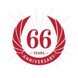 66 anni di anniversario di modello di progettazione Progettazione elegante di logo di anniversario Sessantasei anni di logo royalty illustrazione gratis