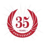 35 anni di anniversario di modello di progettazione Progettazione elegante di logo di anniversario Trentacinque anni di logo royalty illustrazione gratis