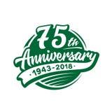 75 anni di anniversario di modello di progettazione Vettore ed illustrazione settantacinquesimo logo illustrazione di stock