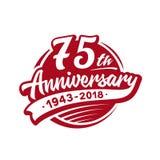 75 anni di anniversario di modello di progettazione Vettore ed illustrazione settantacinquesimo logo royalty illustrazione gratis
