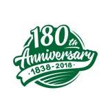 180 anni di anniversario di modello di progettazione Vettore ed illustrazione 180th logo illustrazione di stock