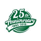 25 anni di anniversario di modello di progettazione Vettore ed illustrazione venticinquesimo logo royalty illustrazione gratis