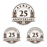 25 anni di anniversario di modello di progettazione Vettore ed illustrazione di anniversario venticinquesimo logo royalty illustrazione gratis