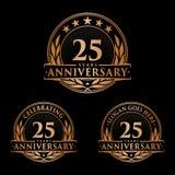 25 anni di anniversario di modello di progettazione Vettore ed illustrazione di anniversario venticinquesimo logo illustrazione di stock