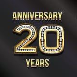 20 anni di anniversario in oro ed in diamanti Immagini Stock Libere da Diritti