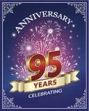 95 anni di anniversario su un fondo blu Immagine Stock Libera da Diritti