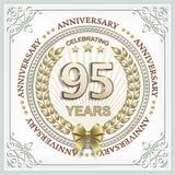 95 anni di anniversario in una corona dell'alloro dell'oro Fotografia Stock