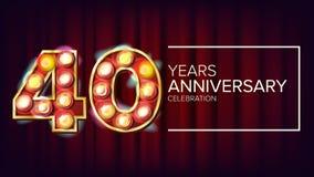 40 anni di anniversario di vettore dell'insegna Quaranta, quarantesima celebrazione Cifre leggere illuminate stile d'annata per illustrazione di stock