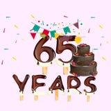 65 anni di biglietto di auguri per il compleanno felice Immagine Stock