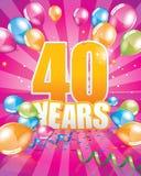 40 anni di biglietto di auguri per il compleanno illustrazione vettoriale