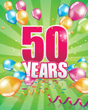 50 anni di biglietto di auguri per il compleanno illustrazione vettoriale