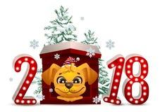 2018 anni di cane giallo in calendario cinese Il cane del fumetto in canile sembra pino di natale e di andata royalty illustrazione gratis