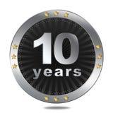 10 anni di distintivo di anniversario - colore d'argento Immagini Stock