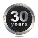 30 anni di distintivo di anniversario - colore d'argento Fotografia Stock